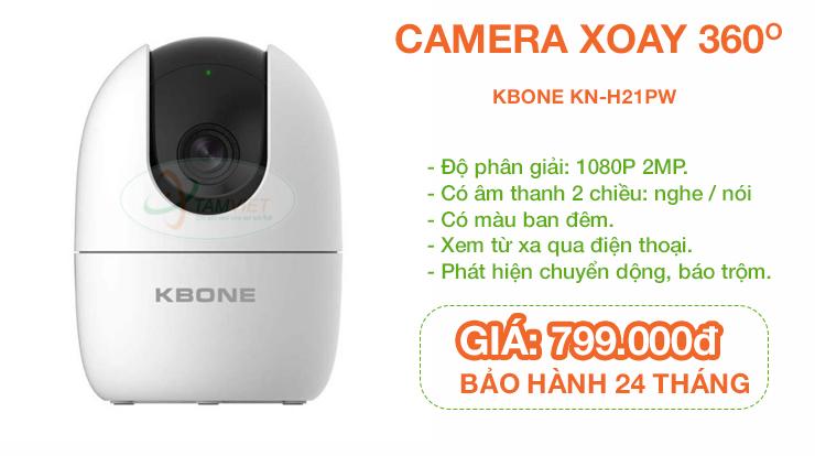 Lắp camera xoay 360 độ, không dây KBONE KN-H21PW ở Trà Vinh