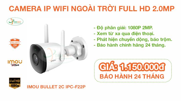 Lắp đặt Camera IP Wifi Imou Bullet Bullet 2C IPC-F22P 1080P 2MP ngoài trời ở tại Trà Vinh