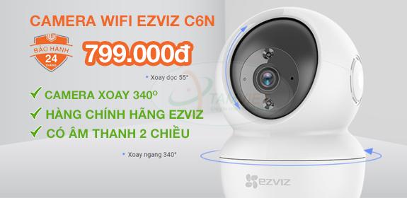 Lắp đặt camera wifi EZVIZ C6N, chính hãng, không dây, có tiếng, xoay 360 độ