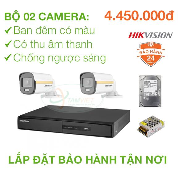 Lắp đặt trọn bộ 2 camera quan sát HIKVISION FULL HD có màu ban đêm, có thu âm thanh, chống ngược sáng